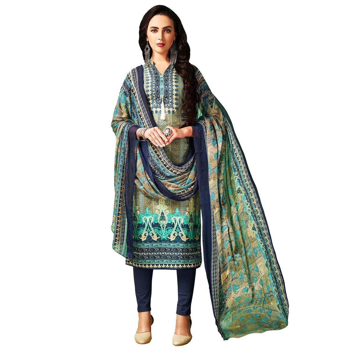 Adorable Olive Green Colored Casual Wear Printed Cotton Salwar Suit