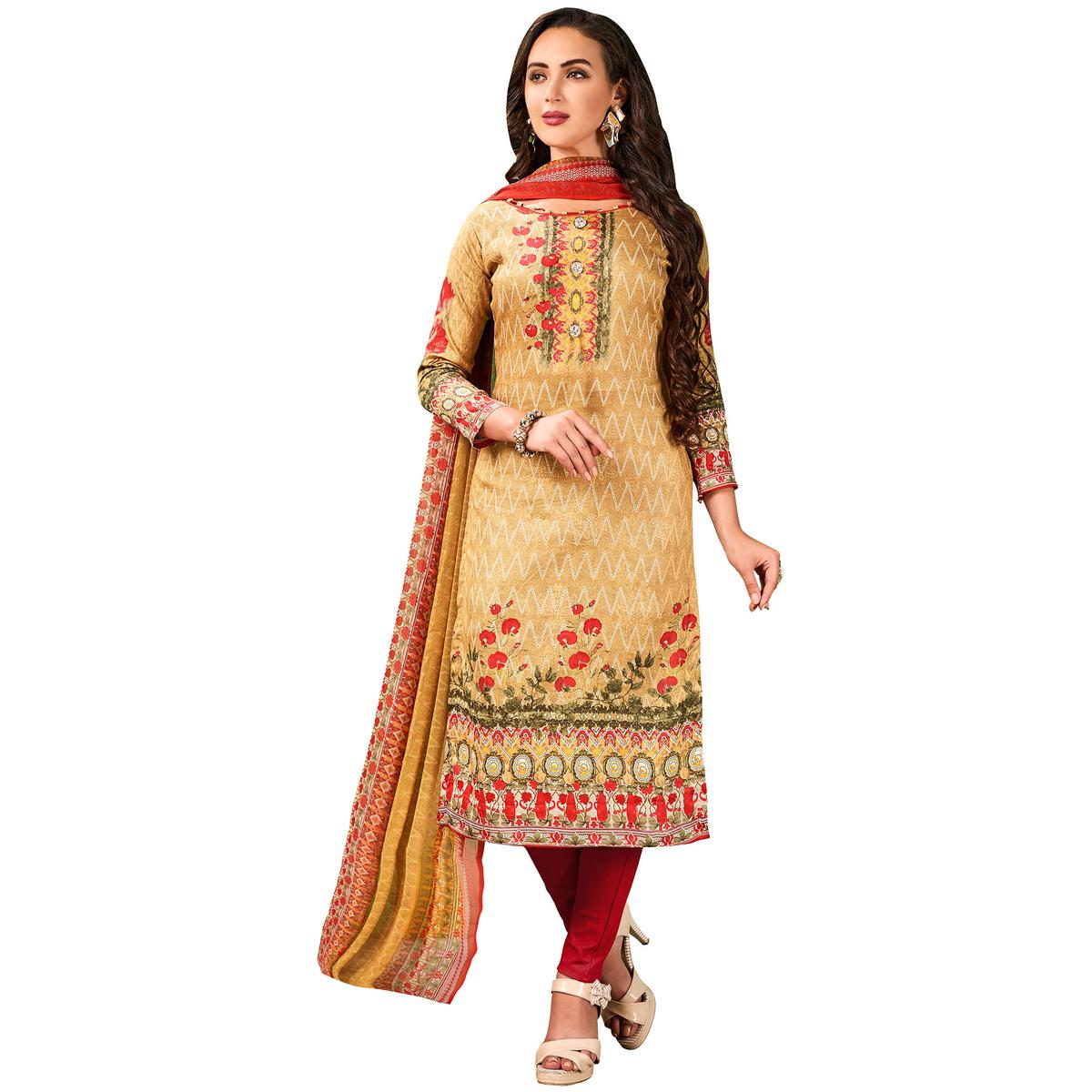 Gorgeous Beige Colored Casual Wear Printed Cotton Salwar Suit