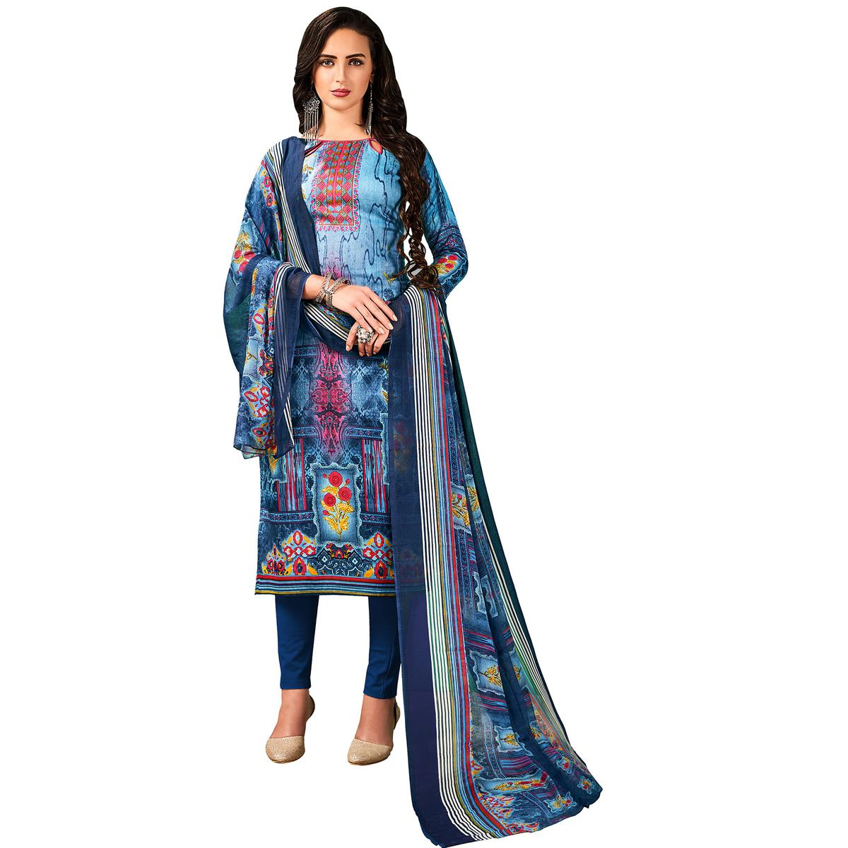 Classy Blue Colored Casual Wear Printed Cotton Salwar Suit