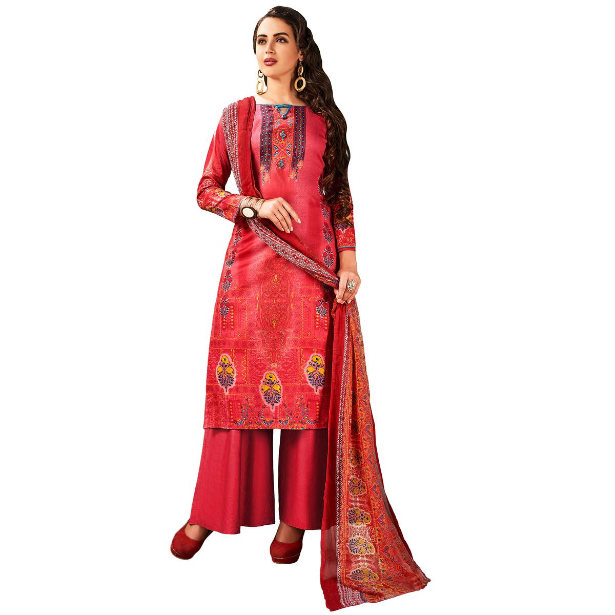 Graceful Pink Colored Casual Wear Printed Cotton Salwar Suit