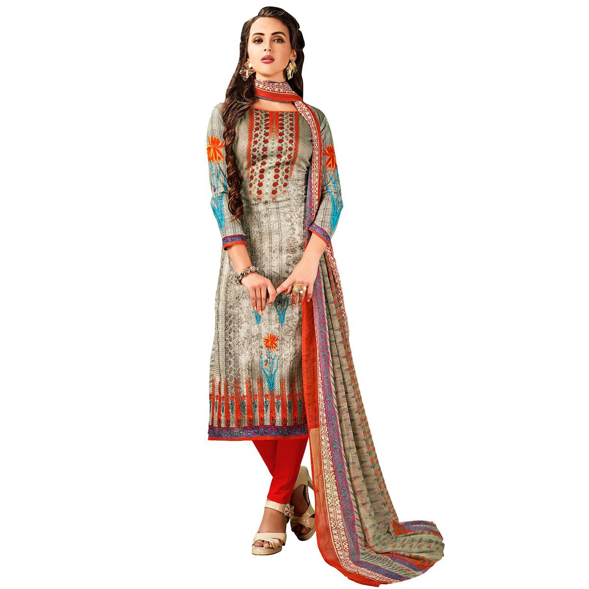 Lovely Multi Colored Casual Wear Printed Cotton Salwar Suit