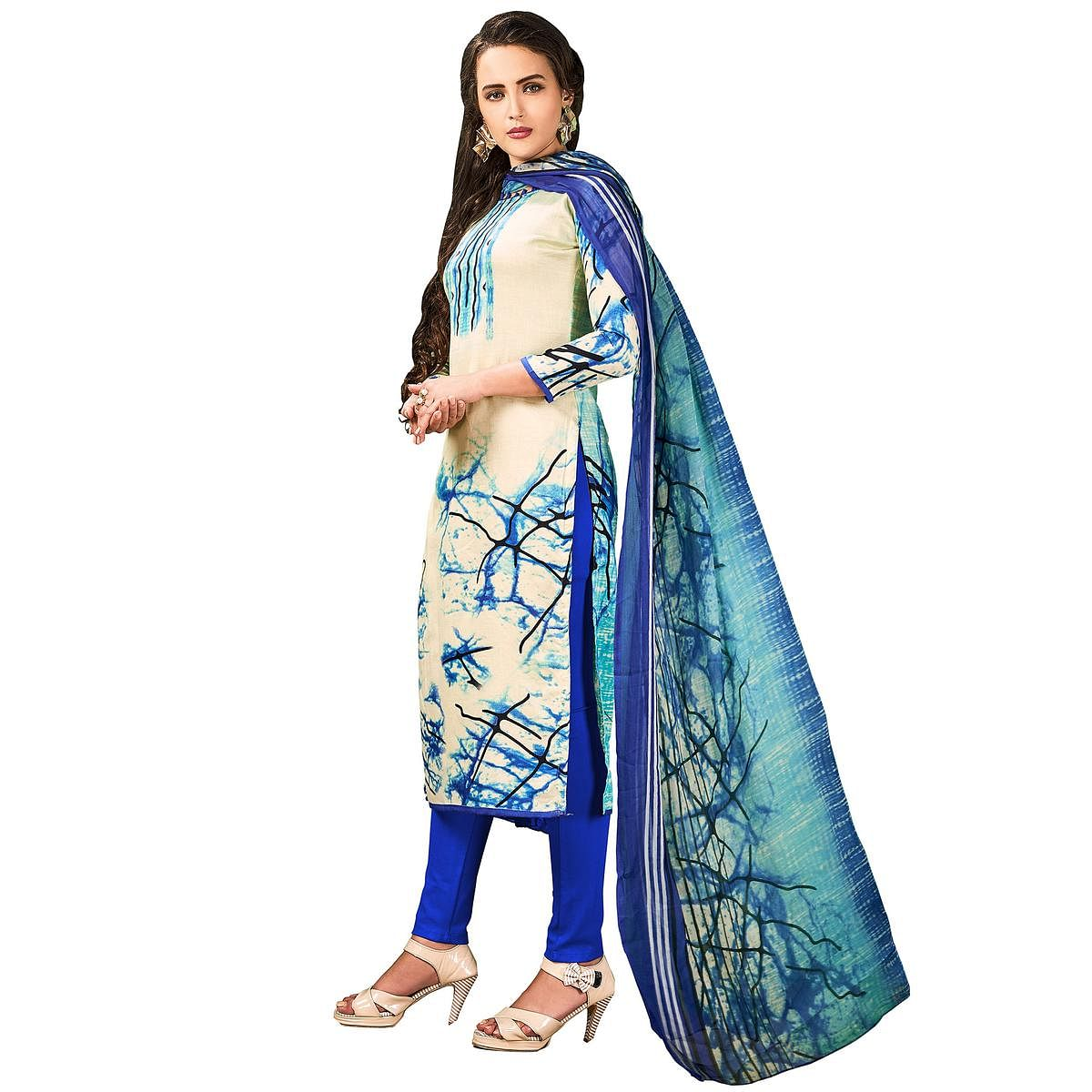 Charming Cream Colored Casual Wear Printed Cotton Salwar Suit