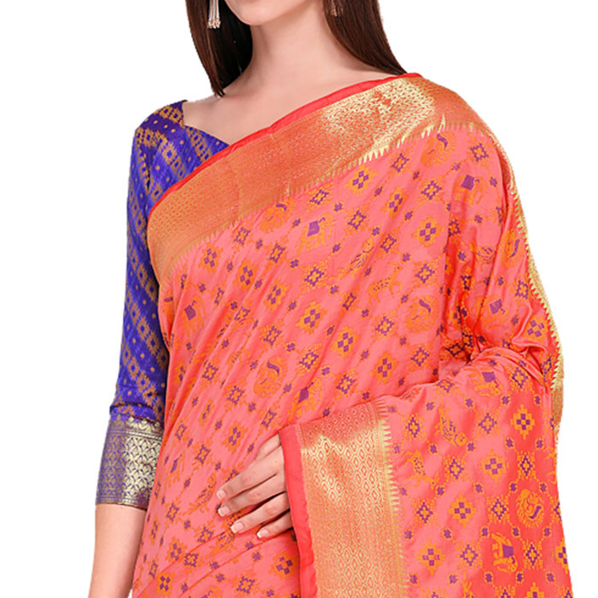 Elegant Peach Colored Festive Wear Woven Silk Saree
