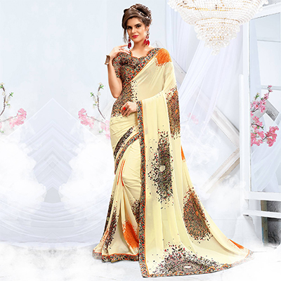 Impressive Cream Georgette Printed Saree