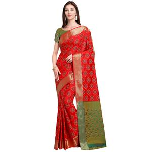 Classy Red Colored Festive Wear Woven Silk Saree