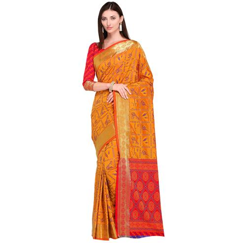 Desiring Orange Colored Festive Wear Woven Silk Saree