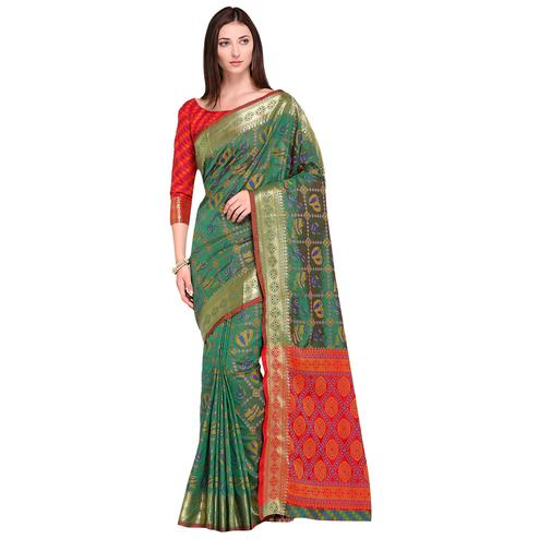 Demanding Teal Green Colored Festive Wear Woven Silk Saree