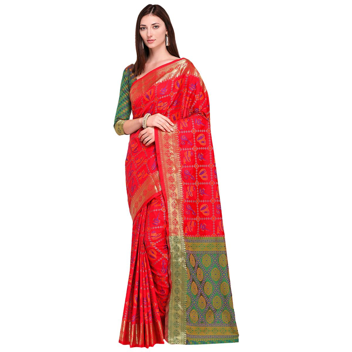 Impressive Red Colored Festive Wear Woven Silk Saree