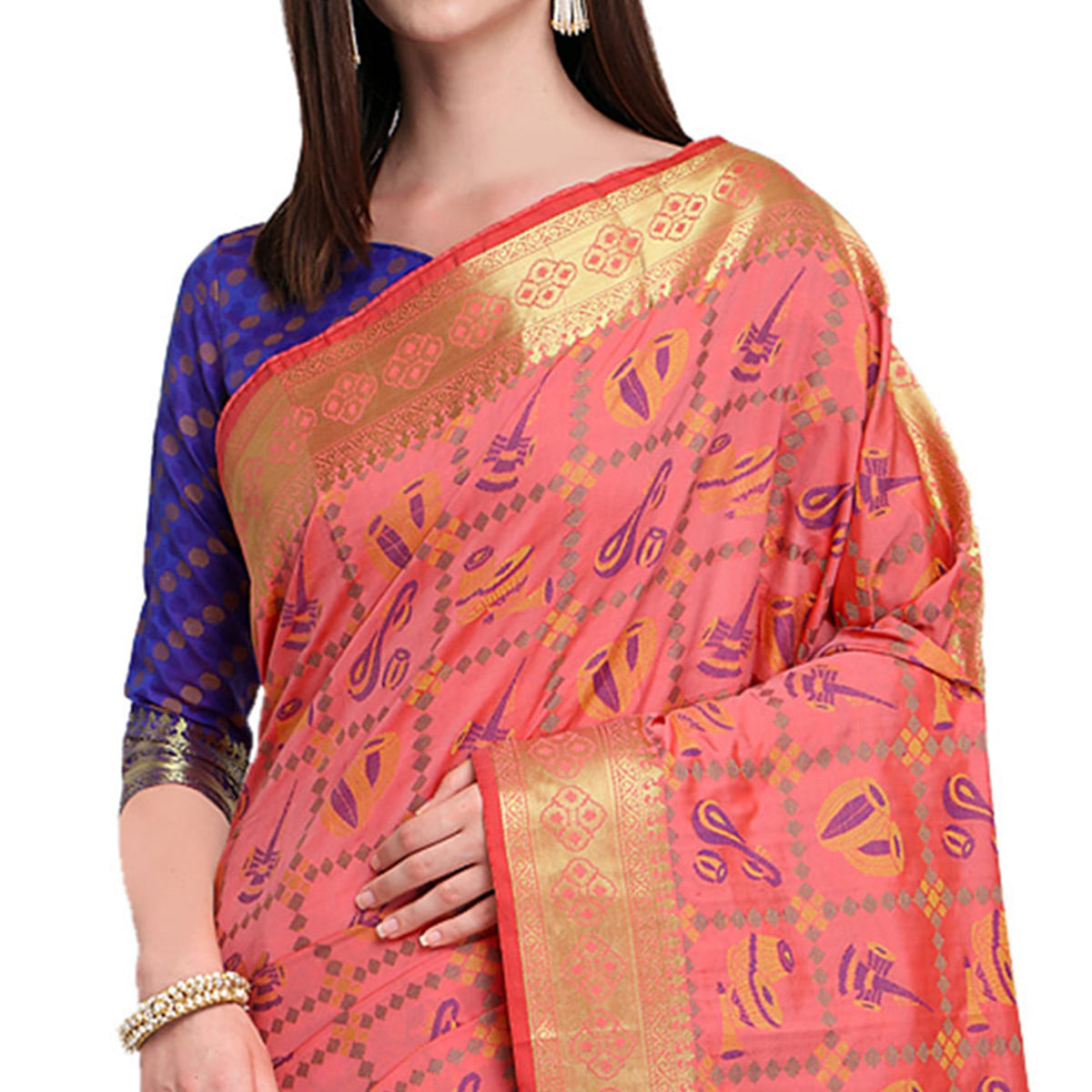 Appealing Pink Colored Festive Wear Woven Silk Saree