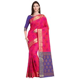 Blooming Rani Pink Colored Festive Wear Woven Silk Saree