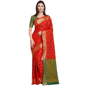 Lovely Red Colored Festive Wear Woven Silk Saree