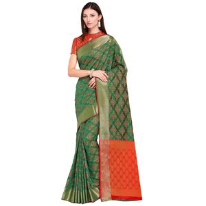 Refreshing Green Colored Festive Wear Woven Silk Saree