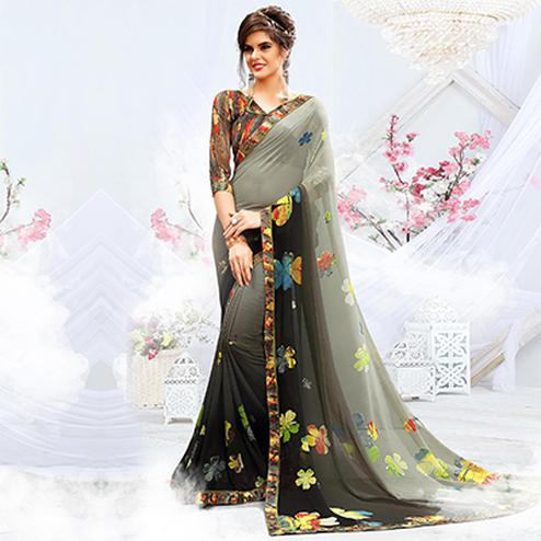 Beautiful Shaded Grey Floral Printed Saree
