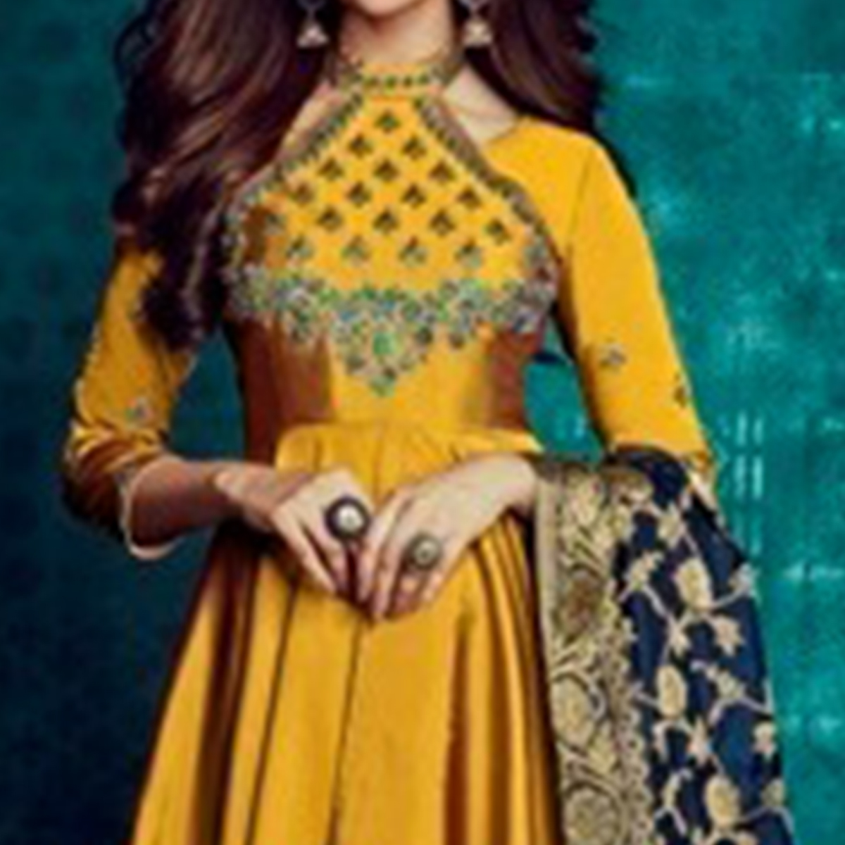 Fantastic Golden Yellow Colored Party Wear Embroidered Tapetta Silk Gown