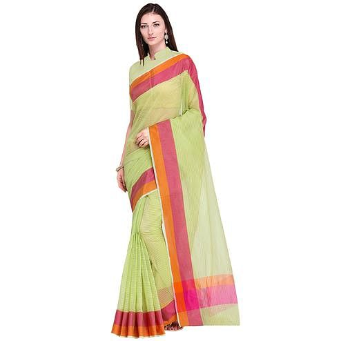Intricate Light Green Colored Festive Wear Art Silk Saree