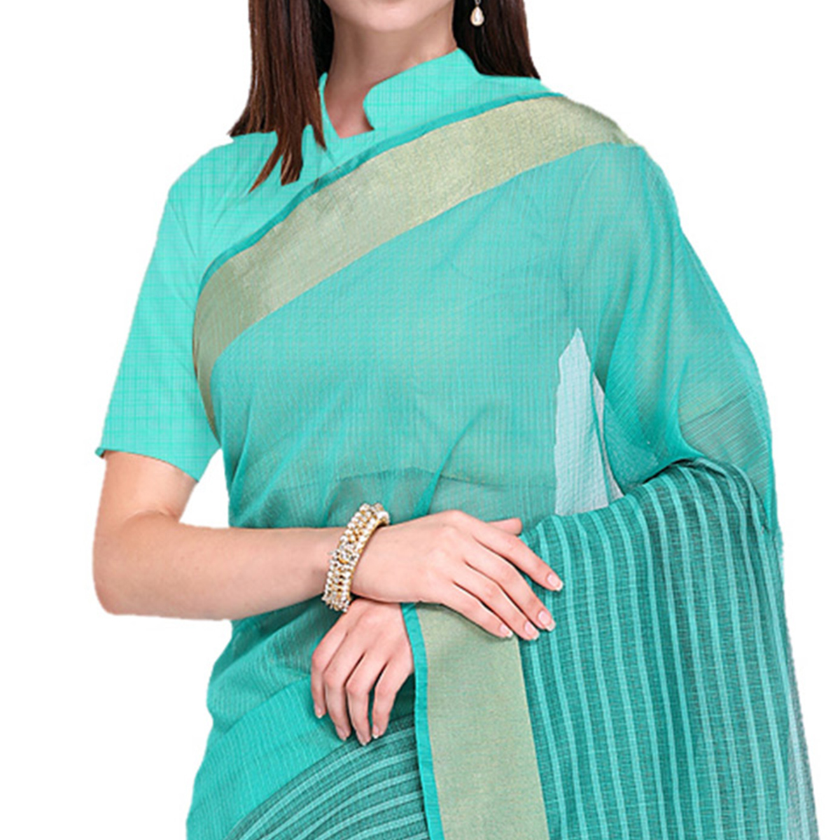 Sophisticated Turquoise Colored Festive Wear Art Silk Saree