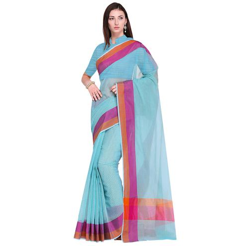 Unique Sky Blue Colored Festive Wear Art Silk Saree