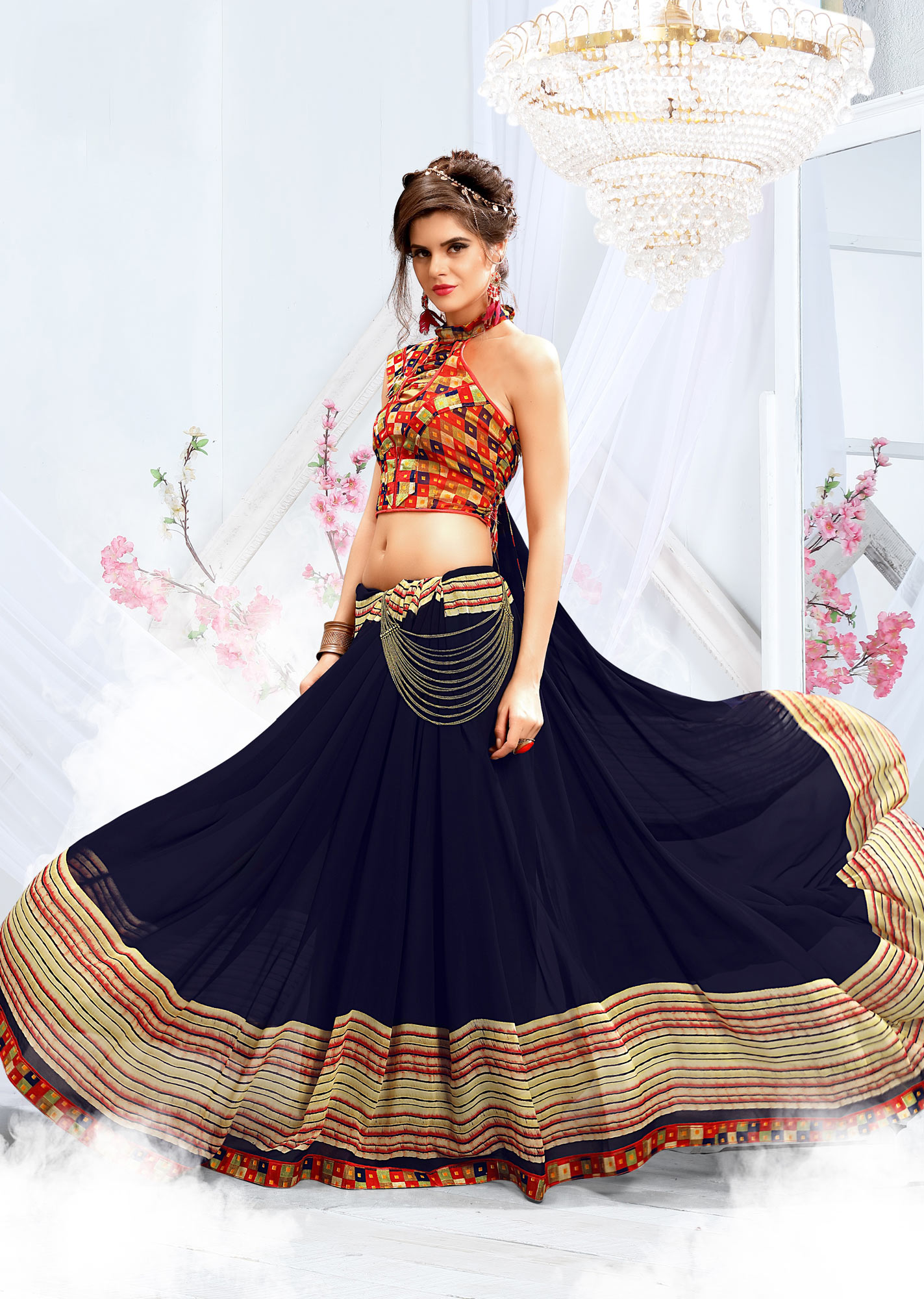 Stylish Navy Blue Georgette Printed Saree