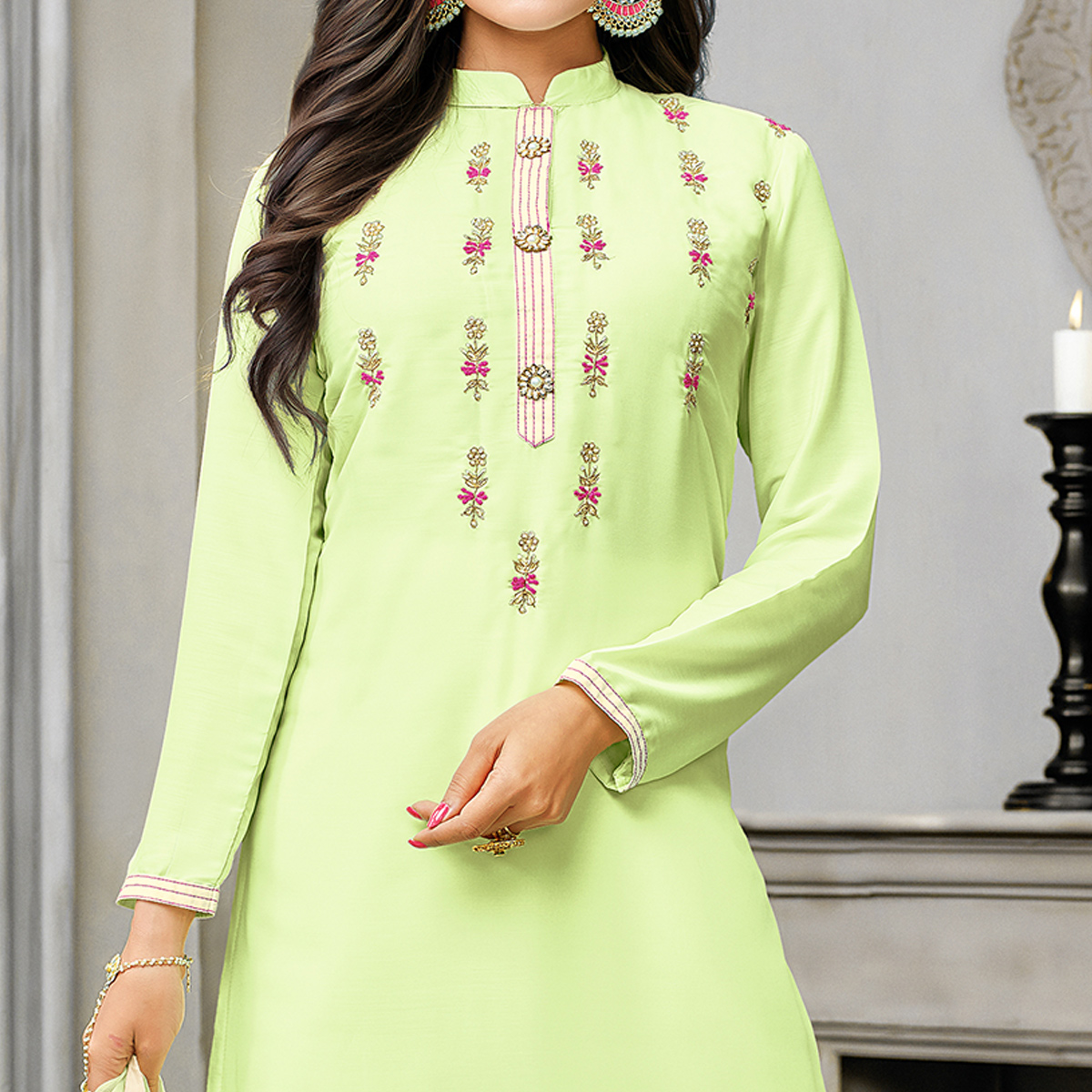 Classy Pista Green Colored Partywear Embroidered Cotton Silk Palazzo Suit