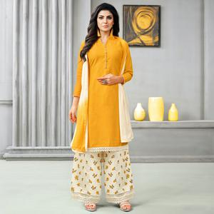 Stylish Orange Colored Partywear Embroidered Cotton Palazzo Suit