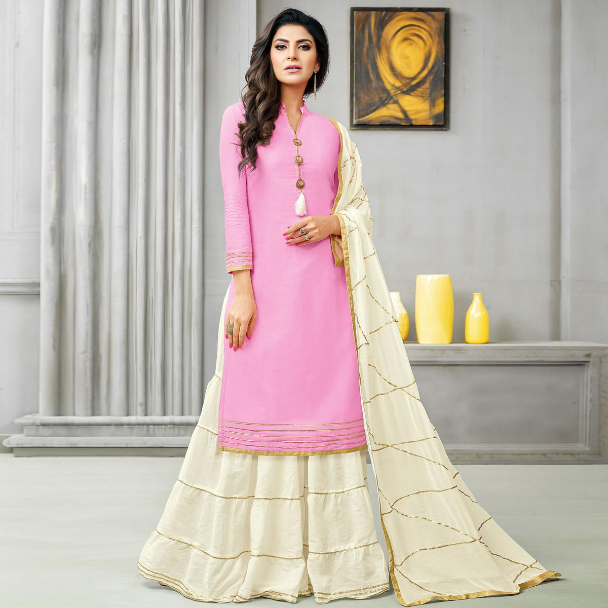 Beautiful Pink Colored Partywear Embroidered Cotton Silk Palazzo Suit
