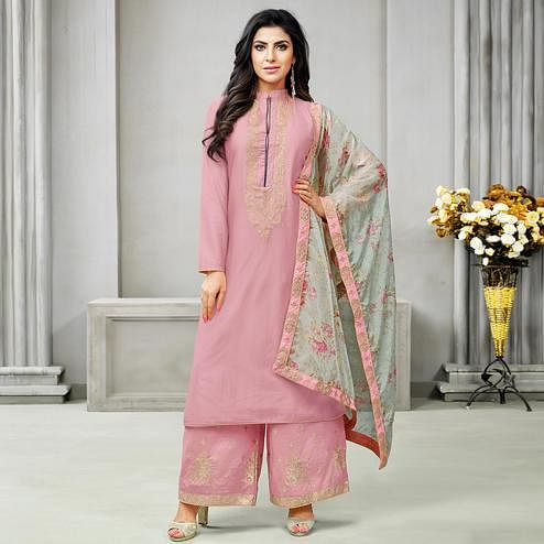 Charming Pink Colored Partywear Embroidered Cotton Silk Palazzo Suit