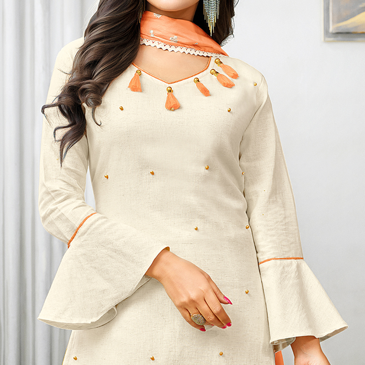 Appealing Off-White Colored Partywear Embroidered Cotton Palazzo Suit