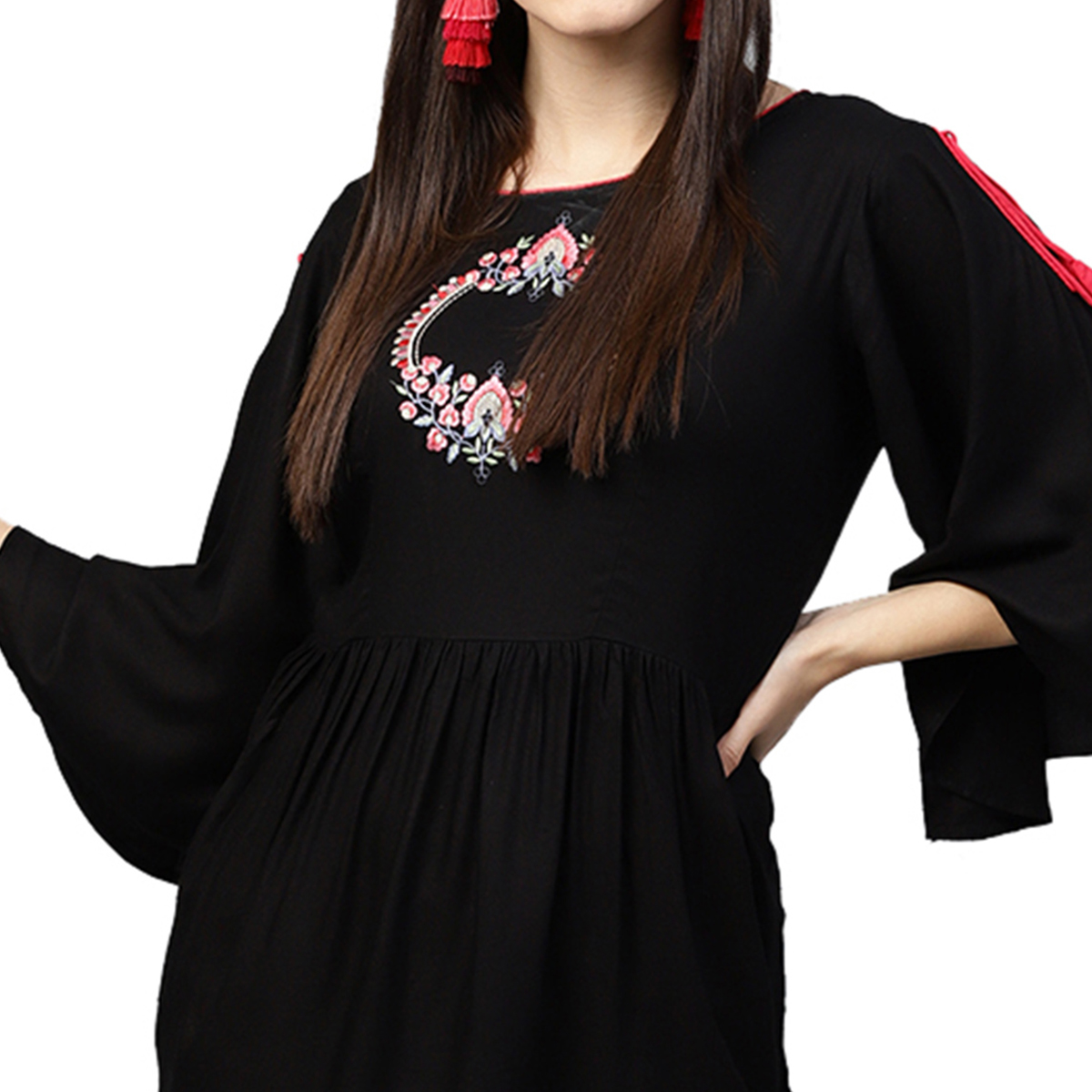 Stylish Black Colored Partywear Embroidered Rayon Top