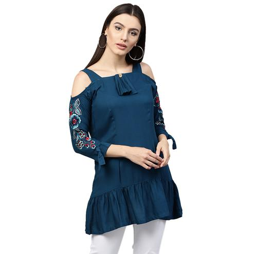 Classy Blue Colored Partywear Embroidered Rayon Top