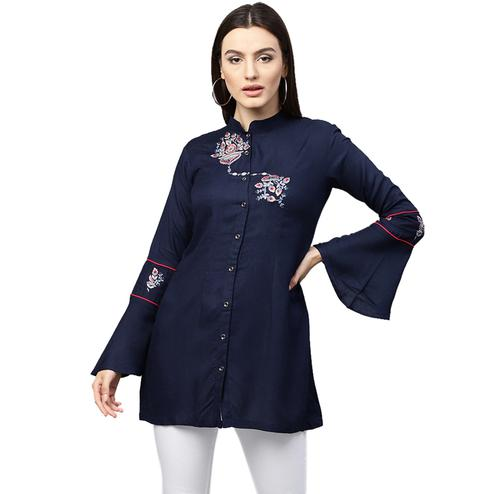 Attractive Navy Blue Colored Partywear Embroidered Rayon Top