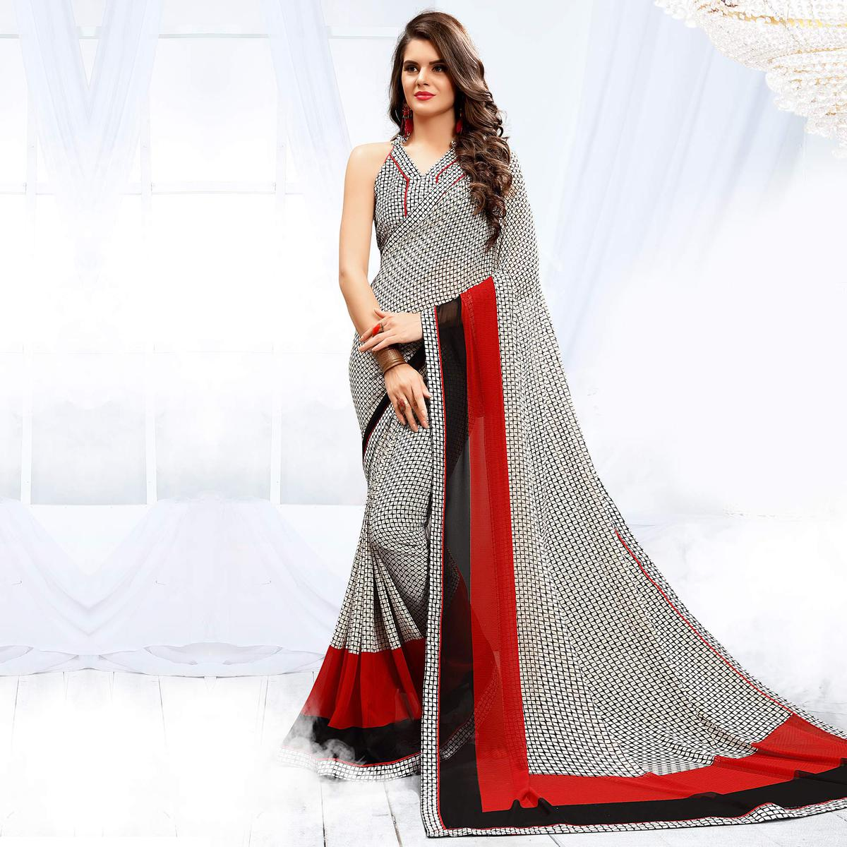 Sizzling White - Black Checkered Georgette Saree