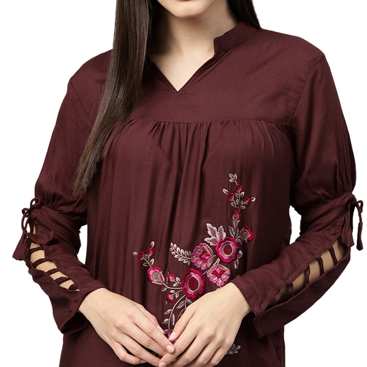 Stunning Maroon Colored Partywear Embroidered Rayon Top