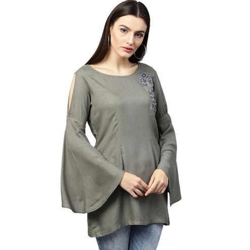 Lovely Gray Colored Partywear Embroidered Rayon Top