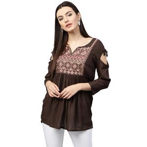 Eye-Catching Brown Colored Partywear Embroidered Rayon Top