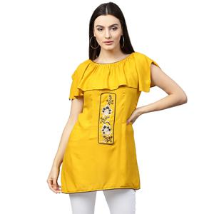 Glowing Yellow Colored Partywear Embroidered Rayon Top