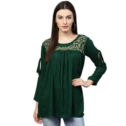 Refreshing Green Colored Partywear Embroidered Rayon Top
