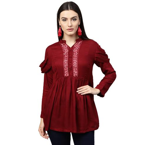 Trendy Red Colored Partywear Embroidered Rayon Top