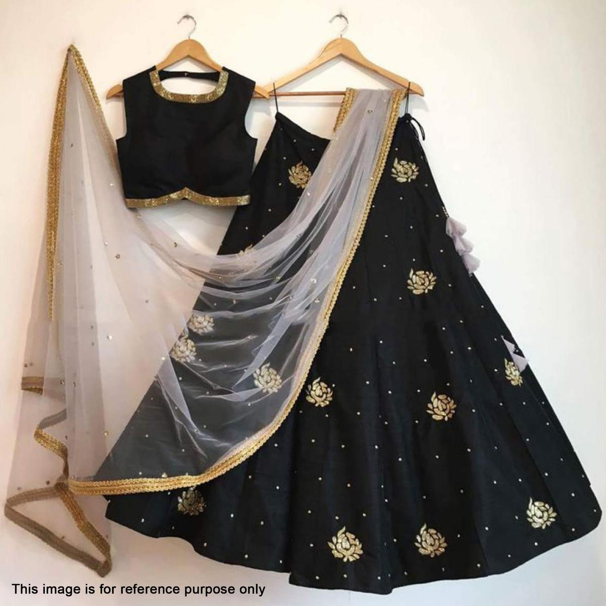 99b15bcdc5 Buy Stunning Black Colored Partywear Embroidered Tapeta Silk Lehenga Choli  online India, Best Prices, Reviews - Peachmod