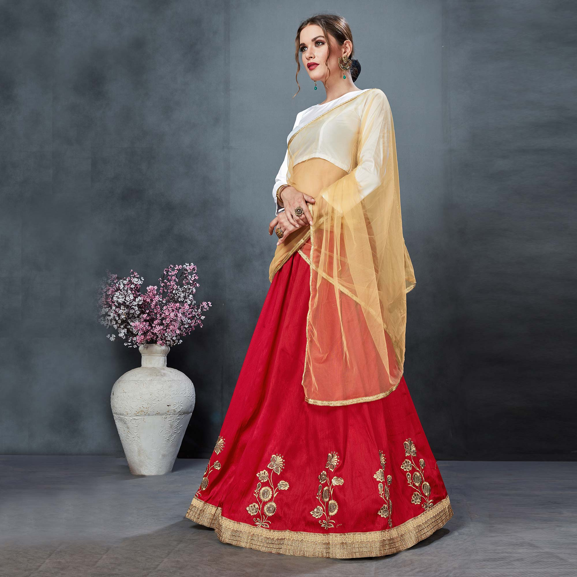 Amazing Red Colored Partywear Embroidered Tapeta Silk Lehenga Choli