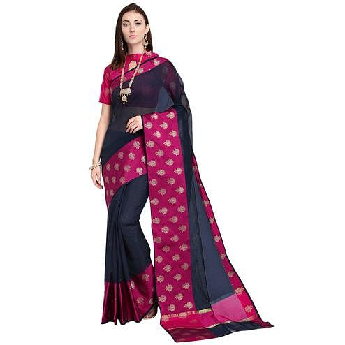 Gorgeous Navy Blue Colored Festive Wear Art Silk Saree