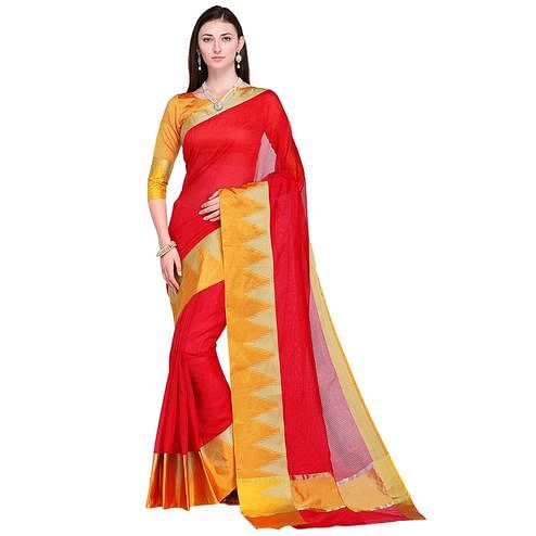 Classy Red Colored Festive Wear Art Silk Saree