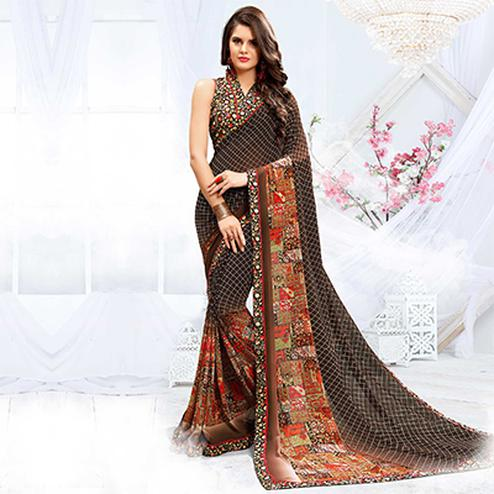 Adorable Brown Checkered Printed Georgette Saree