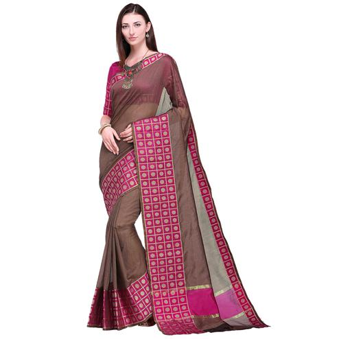 Glorious Brown Colored Festive Wear Art Silk Saree
