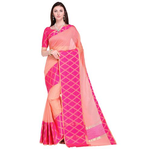 Graceful Peach Colored Festive Wear Art Silk Saree
