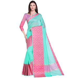 Lovely Turquoise Colored Festive Wear Art Silk Saree