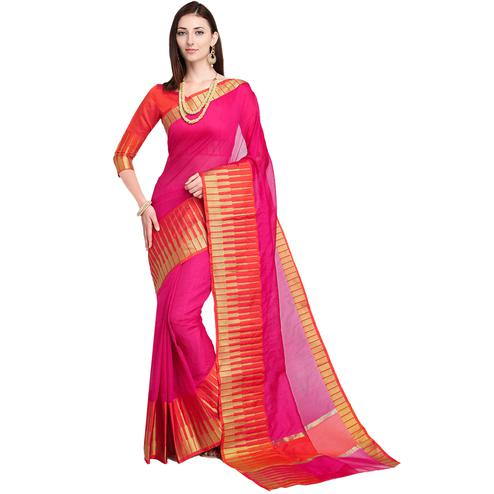 Ravishing Deep Pink Colored Festive Wear Art Silk Saree