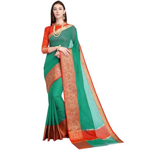 Majesty Green Colored Festive Wear Art Silk Saree