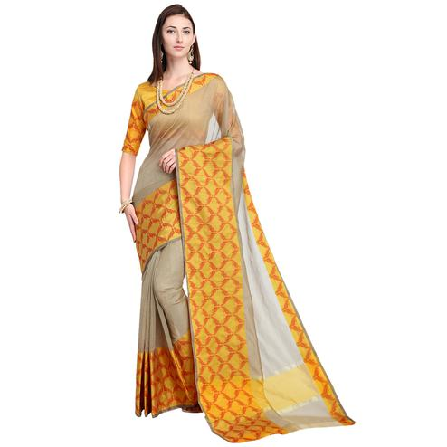 Preferable Grey Colored Festive Wear Art Silk Saree