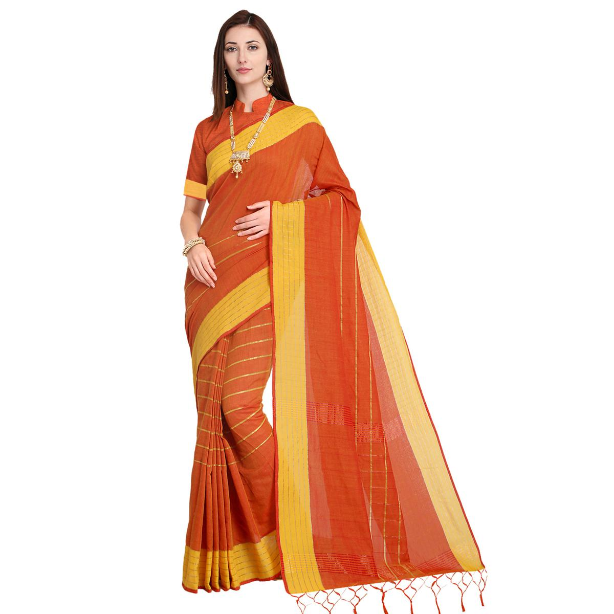 Attractive Orange Colored Festive Wear Art Silk Saree