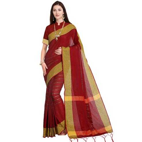 Beautiful Maroon Colored Festive Wear Art Silk Saree